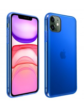 Coque Housse Etui Silicone pour Apple iPhone 11 Bleu Transparent